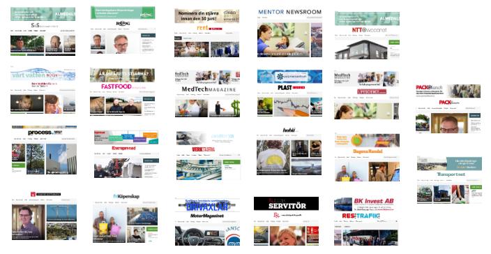 22 B2B-sajter lanserades under våren 2017. Mentor Communications/Nordiske Medier